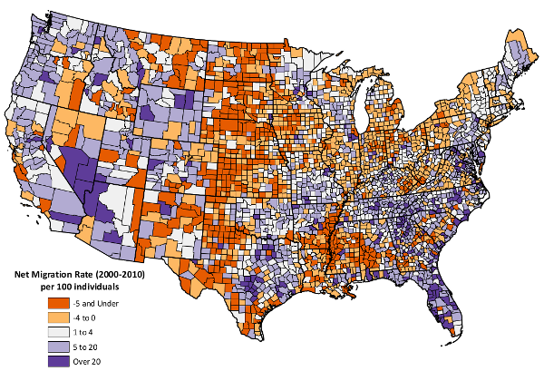 Net Migration Patterns for US Counties